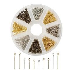 épingle à œil en fer, couleur mélangée, 16 / 20 / 30x0.7 mm, trou: 2 mm; 650 / boîte(IFIN-TA0001-11)