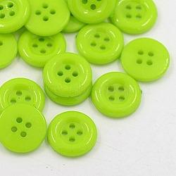 Boutons acryliques, boutons de couture en plastique pour la conception de costumes, 4-trou, teint, plat rond, 'Chartreuse , 12x2mm, Trou: 1mm(X-BUTT-E075-A-04)
