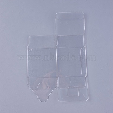 Transparent Plastic PVC Box Gift Packaging, Waterproof Folding Box, Square, Clear, 21.4x14x0.1cm; Box: 7x7x7cm(CON-WH0060-01B)