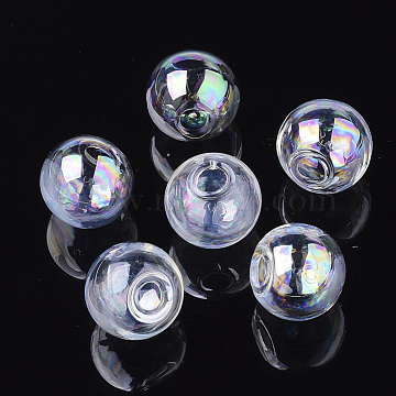 Round Handmade Blown Glass Globe Ball Bottles, for Glass Vial Pendants Making, Clear AB, 14x13mm, Half Hole: 3.5~4mm(BLOW-R002-14mm-AB)