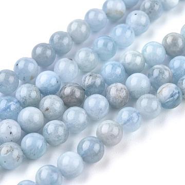 Natural Aquamarine Beads Strands, Round, Grade AB+, 6mm, Hole: 0.7mm; about 62pcs/Strand, 20.31''(51.6cm)(G-F641-02-6mm-01B)