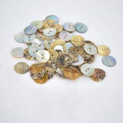 Huîtres perlières boutons shell, plat rond, environ 15 mm de diamètre, Trou: 2mm(X-NNA0VFN)