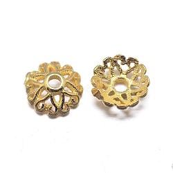 chapeaux de perles en argent massif plaqué or à multiples pétales, fleur, or, 6x2.2 mm, trou: 1 mm; environ 125 pcs / 20 g(STER-M100-31)
