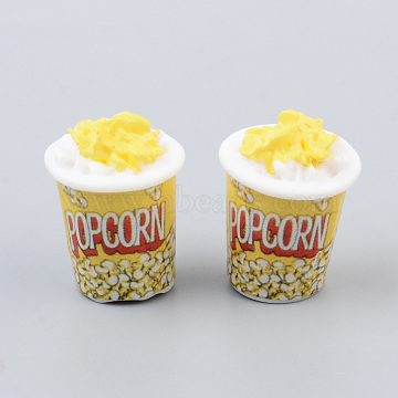 Resin Beads, with Stickers, No Hole/Undrilled, Popcorn, Imitation Food, Yellow, 24x18mm(X-CRES-N026-23)