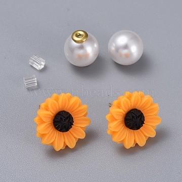 Orange Resin Stud Earrings