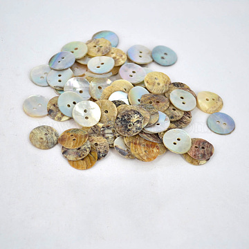 Pearl Oyster Shell Buttons, Flat Round, about 15mm in diameter, hole: 2mm(X-NNA0VFN)