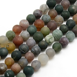 Frosted Natural Indian Agate Round Bead Strands, 4mm, Hole: 1mm; about 93~96pcs/strand, 14.9inches~15.6inches
