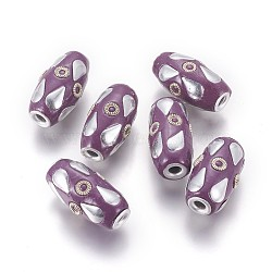 Perles d'Indonésie main, avec les résultats en alliage, baril avec larme, pourpre, argent antique et argent, 25~25.5x13~14 mm, trou: 3~3.5 mm(IPDL-K004-E)