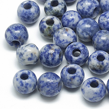 Natural Blue Spot Jasper Beads, Large Hole Beads, Rondelle, 14x12mm, Hole: 5.5mm(G-T092-14mm-11)