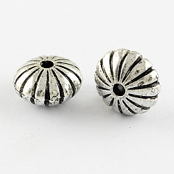 Vintage Acrylic Beads, Flat Round, Antique Silver, 8x14mm, Hole: 3mm(X-PACR-Q085-28AS)