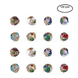 perles en cloisonné main, arrondir, couleur mélangée, 6 (± 0.5~1 mm) mm, trou: 2 mm; 120 pcs / boîte; Conteneur de rangement en plastique carré: 5.4x5.3x2 cm(CLB-PH0001-01-6mm)