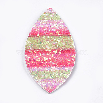 PU Leather Big Pendants, with Sequins, Horse Eye, Colorful, 55x28x2mm, Hole: 2mm(X-FIND-S299-23A)