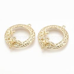 pendentifs en laiton, pour perle à moitié percée, sonner avec des fleurs, réel 18 k plaqué or, 29x24x3 mm, Trou: 1 mm; Broche: 0.8 mm.(KK-S345-121)