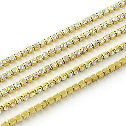Chaînes avec strass en laiton sans nickel non plaqué, chaîne de tasse de rhinestone, 1440 pcs strass / bundle, Grade a, cristal ab, 3.7mm, 6 m / bundle(CHC-R119-S16-16C)
