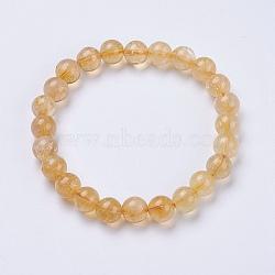 """Citrine naturelle bracelets extensibles de perles, rond, 2"""" (52 mm)(BJEW-I253-8mm-21)"""