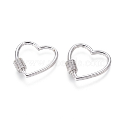laiton micro pavé zircone cubique vis verrouillage mousqueton porte-clés, charm mousqueton, pour la fabrication de colliers, cœur, platine, 22x22x2 mm(ZIRC-I031-12P)
