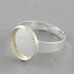 Brass Pad Ring Settings, Adjustable, Flat Round, Silver Color Plated, 18mm, flat round: 18mm, Tray: 16mm(X-MAK-S018-16mm-JN003S)