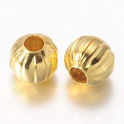 Perles ondulées en fer, or, rond, 6 mm de diamètre, Trou: 2 mm(X-E187Y-G)