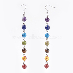 Bijoux chakra, Perles de pierre mixtes naturelles et synthétiques pendent les boucles d'oreilles, avec la tonalité de platine laiton crochets, 114 mm; broches: 0.6 mm(X-EJEW-JE02622)