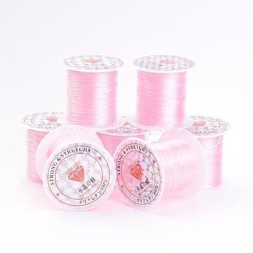 Étirement pearlpink perles élastique chaîne de fil, 1mm, 10m/rouleau(X-EW-S002-20)