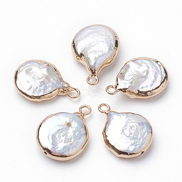 Electroplate Natural Baroque Pearl Keshi Pearl Pendants, Cultured Freshwater Pearl, with Iron Findings, Flat Round, Golden, 16~22x13~16x4~8mm, Hole: 1.8mm(PEAR-Q008-08G)