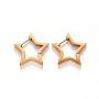 304 Stainless Steel Huggie Hoop Earrings, Star, Golden, 21x21.5x3mm, Pin: 1mm