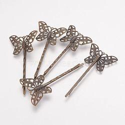 Accessoires bobby épingle à cheveux en laiton , papillon, bronze antique, 2x55x2mm, Plateau: 30x22x1 mm(X-KK-G038-AB)