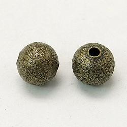 Perles rondes texturées en laiton de couleur bronze antique, sans nickel, taille: environ 6mm de diamètre, Trou: 1mm(X-EC248-NFAB)