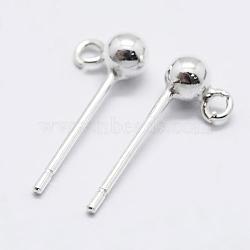925 результат стерлингового серебра, серьги, вырезанные 925, серебряные, 14 мм, Руководитель: 5x2.5 mm, отверстия: 1 мм; штифты: 0.7 мм(STER-K167-042A-S)