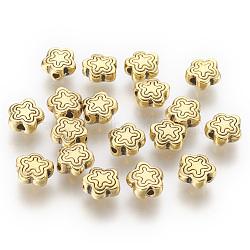 perles en alliage d'argent tibétain, sans plomb et sans cadmium, antique couleur dorée, fleur, idéal pour les cadeaux du jour de mère faisant, sur 7 mm de long, 7 mm de large, 2.5 mm d'épaisseur, trou: 1.5 mm(X-GLF10690Y)