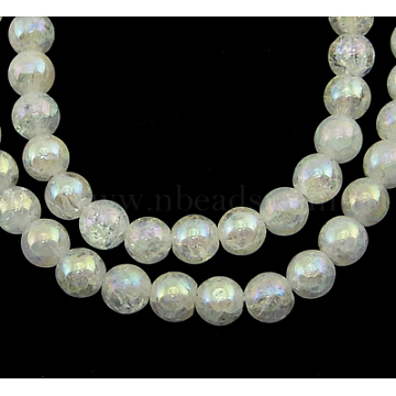 Gemstone Beads Strands, Natural Crackle Quartz, Round, Clear, about 5mm in diameter, hole: 1mm, 76pcs/strand, 15inches(X-G860-5MM)