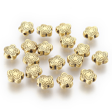 Tibetan Style Alloy Beads, Lead Free & Cadmium Free, Antique Golden Color, Flower, Great for Mother's Day Gifts making, about 7mm long, 7mm wide, 2.5mm thick, hole: 1.5mm(X-GLF10690Y)