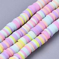 Handmade Polymer Clay Beads Strands, for DIY Jewelry Crafts Supplies, Heishi Beads, Disc/Flat Round, Mixed Color, 6x0.5~1mm, Hole: 1.8mm; about 320~447pcs/strand, 15.75 inches~16.14 inches(40~41cm)(X-CLAY-R089-6mm-087)