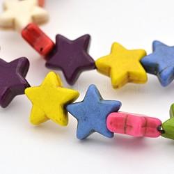 """Teintes turquoise synthétique chapelets de perles d'étoiles, colorées, 12x12x4mm, trou: 1mm; environ 40 pcs/chapelet, 15.7""""(G-N0138-05)"""