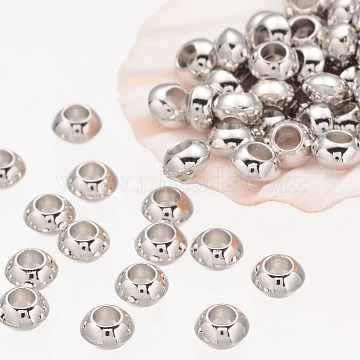 Rondelle Tibetan Silver Spacer Beads, Lead Free & Nickel Free & Cadmium Free, Platinum Color, about 5.5mm thick, Hole: 2.3mm; about 93pcs/20g(Y-AB937-NF)