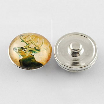 Brass Jewelry Snap Buttons, with Glass Cabochons, Flat Round, Goldenrod, 18x10mm, Knob: 5mm(X-GLAA-S029-29)