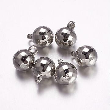 CCB Plastic Pendants, Round, Faceted, Platinum, 18.5x14mm, Hole: 3mm(CCB-F006-42P)