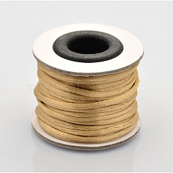 Cordons fil de nylon tressé rond de fabrication de noeuds chinois de macrame rattail, palegoldenrod, 2 mm; environ 10 m/rouleau(X-NWIR-O001-A-19)