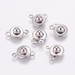 304 Stainless Steel Snap Clasps, Stainless Steel Color, 15.5x10x5mm, Hole: 1.5mm(X-STAS-K148-11)