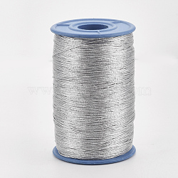 Metallic Cord, For Jewelry Making, Silver, 0.5mm, about 500m/roll(MCOR-Q001-01)