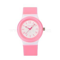 Высококачественные детские 304 из нержавеющей стали силиконовые кварцевые наручные часы, розовые, 230x25 мм; головка часы: 48x43x13 мм(WACH-N016-01)