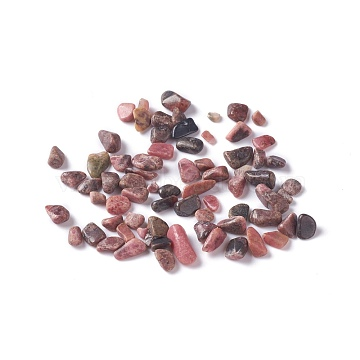Natural Rhodonite Chip Beads, No Hole/Undrilled, 2~12x2~10x1~3mm, about 11200pcs/1000g(G-M364-17)