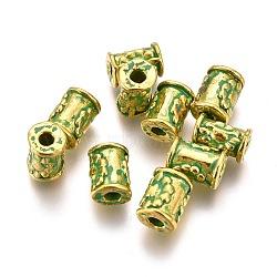 Alloy Beads, Column, Lead Free & Cadmium Free, Golden & Green Patina, 7x4.5~5mm, Hole: 1.8mm(PALLOY-L222-065GGP-RS)