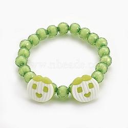 """Bracelets extensibles en perles acryliques pour enfants, boutons en acrylique avec pomme, 'Chartreuse , 1-7/8"""" (4.8 cm)(BJEW-JB03887-04)"""