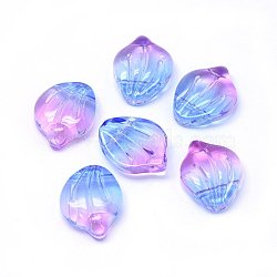 Breloques en verre, pétale / coquille, colorées, 15x12x4mm, Trou: 1mm(X-GLAA-H016-01A-10)