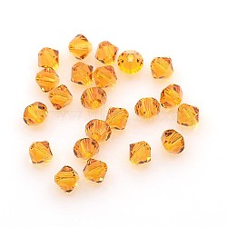 Austrian Crystal Beads, 5301 4mm, Bicone, Topaz, Size: about 4mm long, 4mm wide, Hole: 1mm(X-5301_4mm203)