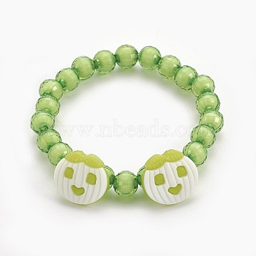 Acrylic Beads Kids Stretch Bracelets, with Acrylic Apple Shank Buttons, Yellow Green, 1-7/8 inches(4.8cm)(BJEW-JB03887-04)