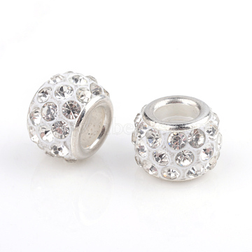 Polymer Clay Rhinestone European Beads, Large Hole Beads, Rondelle, with Silver Color Plated Brass Cores, Crystal, 10~12x7~8mm, Hole: 5mm(X-CPDL-T001-16)