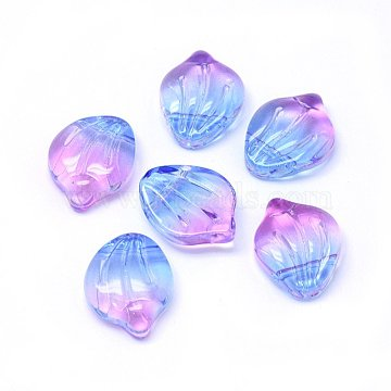 Glass Charms, Petal/Shell, Colorful, 15x12x4mm, Hole: 1mm(X-GLAA-H016-01A-10)