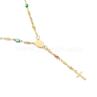 Unisex 304 Stainless Steel Rosary Bead Necklaces(NJEW-L457-002G)-2